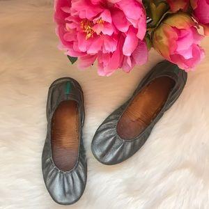 Tieks metallic pewter ballet leather flats